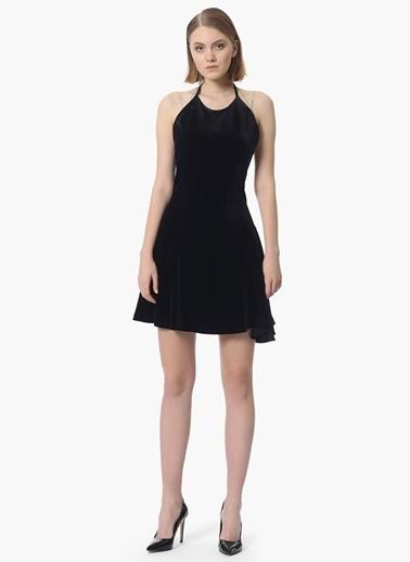 NetWork Askılı Mini Kadife Elbise Siyah